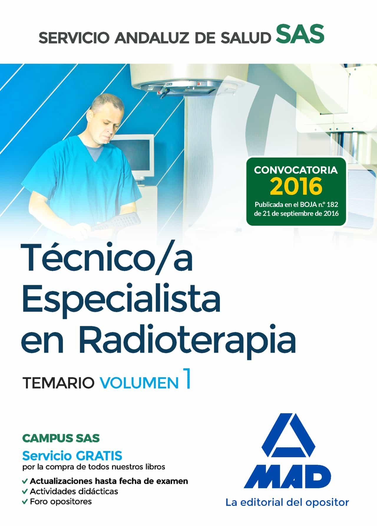 técnico/a especialista en radioterapia del servicio andaluz de salud. temario específico volumen 1-9788414203538
