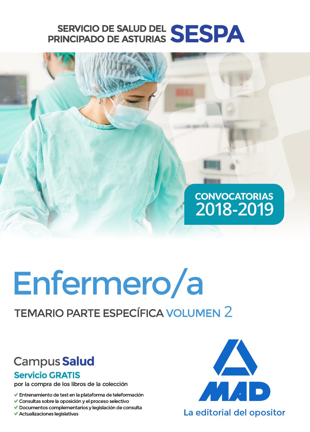 Enfermero/a Del Servicio De Salud Del Principado De Asturias (sespa). Temario Parte Especifica (vol. 2) por Vv.aa.