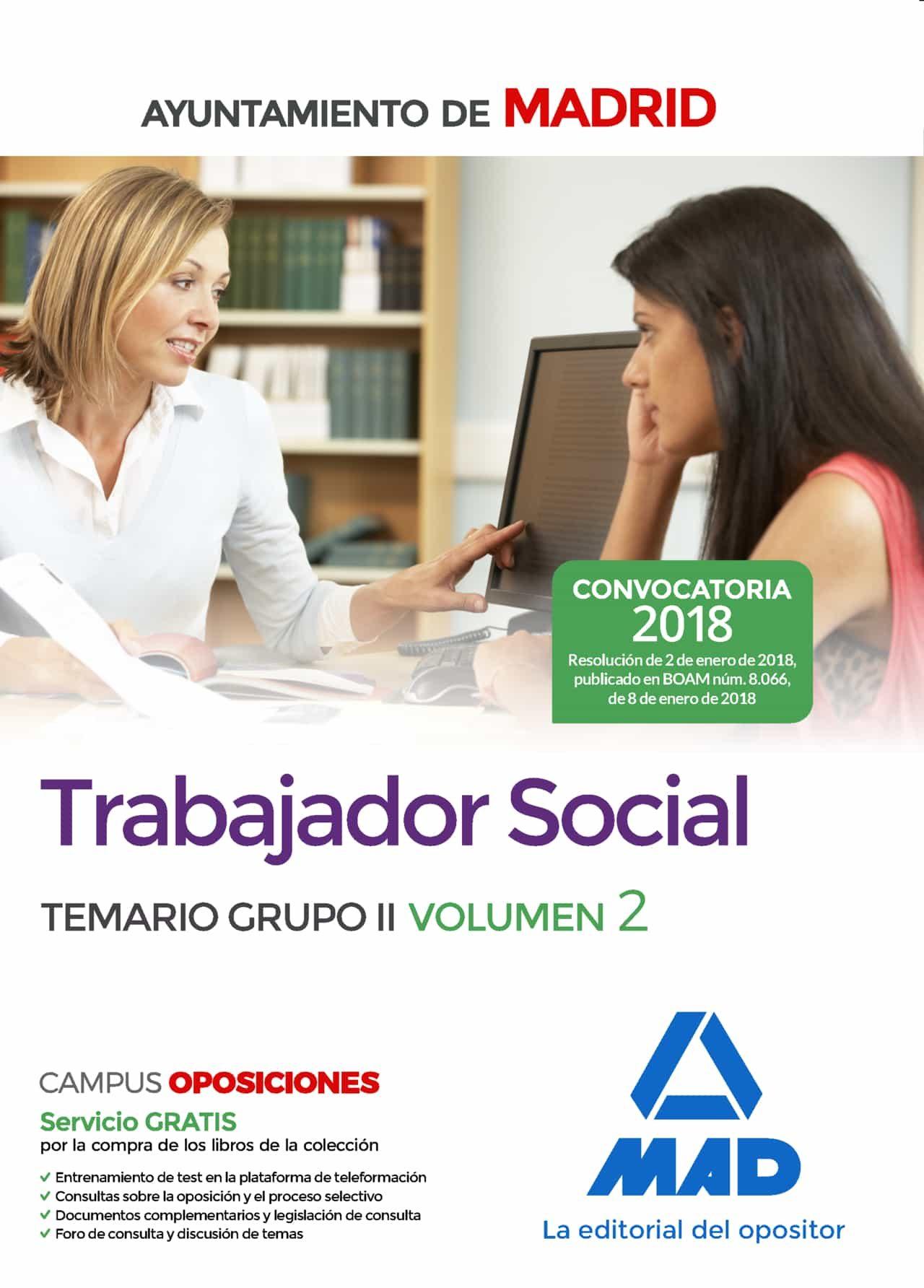 trabajador social del ayuntamiento de madrid. temario grupo ii  v olumen 2-9788414213858