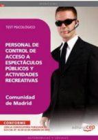 personal de control de acceso a espectaculos publicos y actividad es recreativas de la comunidad de madrid:test psicologico 9788468134338