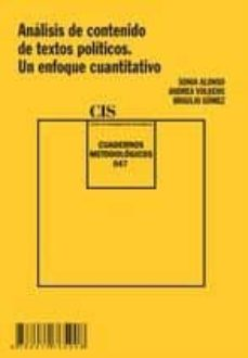 analisis de contenido de textos politicos. un enfoque cuantitativ o-sonia alonso-andrea volkens-9788474765908
