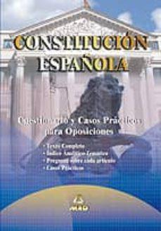 Followusmedia.es Constitucion Española: Cuestionarios Y Casos Practicos Para Oposi Ciones Image