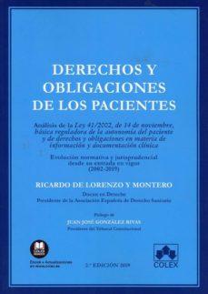 Descargar DERECHOS Y OBLIGACIONES DE LOS PACIENTES ANALISIS DE LA LEY 41/20 02 DE 14 DE NOVIEMBRE, BASICA REGULADORA DE AUTONOMIA gratis pdf - leer online