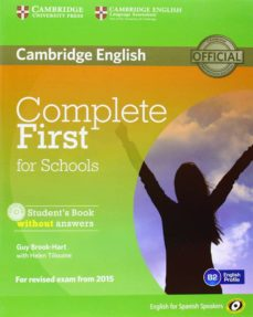 Descargas de libros electrónicos gratis para compartir archivos COMPLETE FIRST FOR SCHOOLS FOR SPANISH SPEAKERS STUDENT S PACK WITHOUT ANSWERS (STUDENT S BOOK WITH CD-ROM, WORKBOOK WITH AUDIO